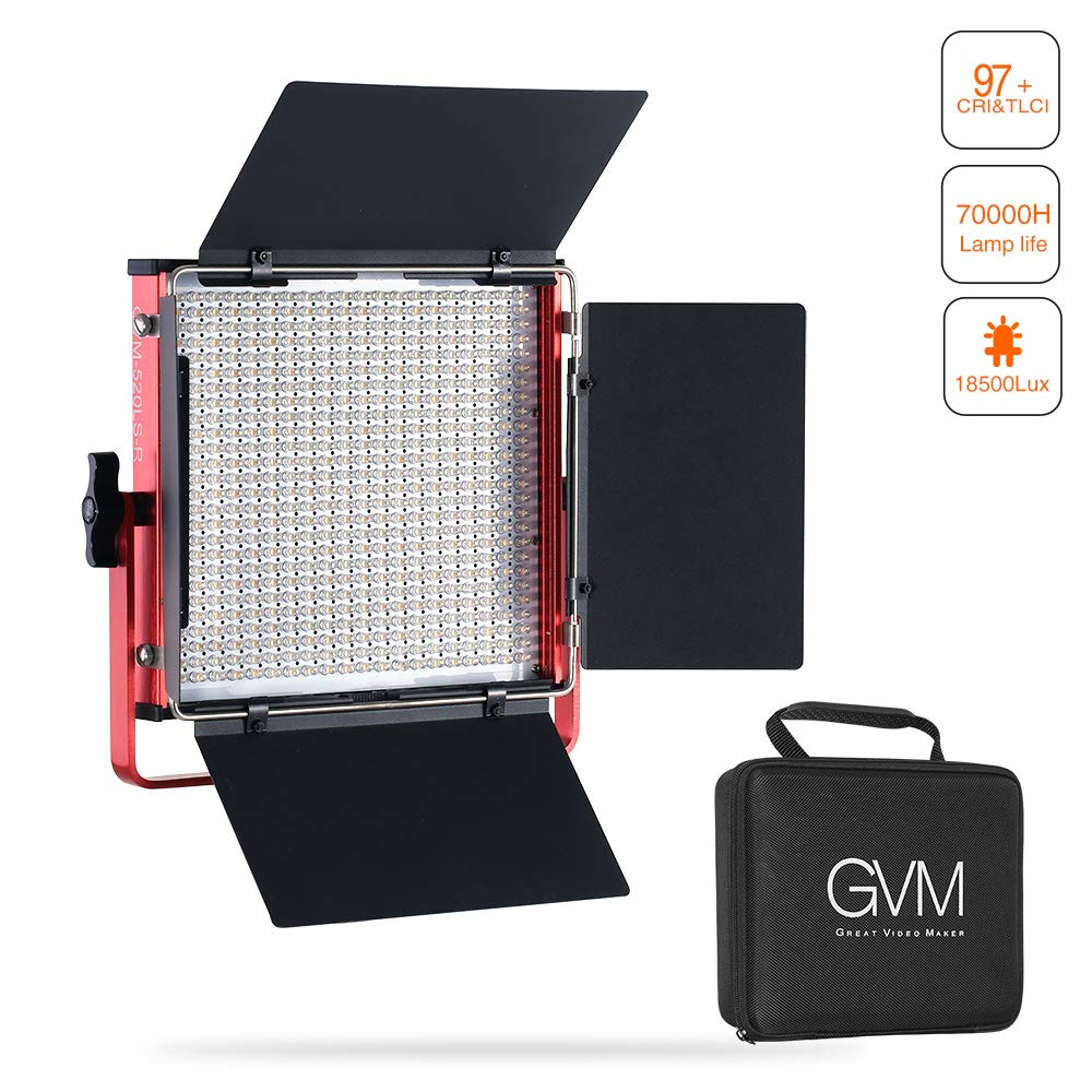 GVM Professional LED Video Lights with Barn-Door Dimmable 3200K-5600K Photography Lighting Kit CRI 97 18500 lux Camera LED Light Panel for for Studio YouTube Product Portrait Photo Shoot by GVM Great Video Maker