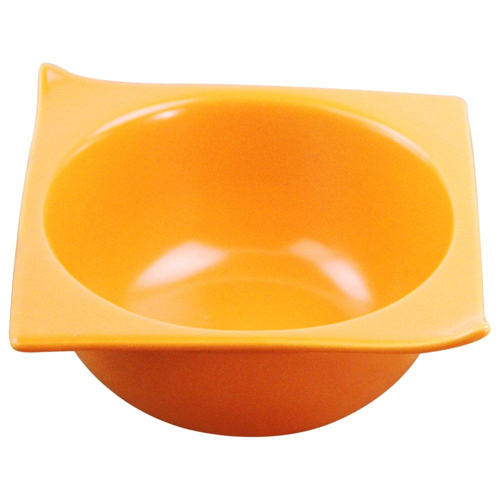 Roblue Bol en Céramique pour Animaux Domestiques Bol d'angle Carré Bol de Nourriture pour Chat et Chien Orange YEAH