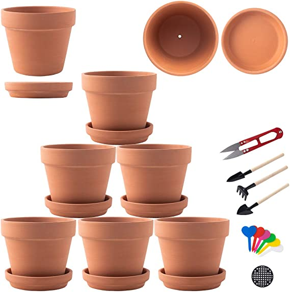 "12 Pack ATT 8/"" Light Terra Cotta Resin Riverland Planter Pot w Saucer"