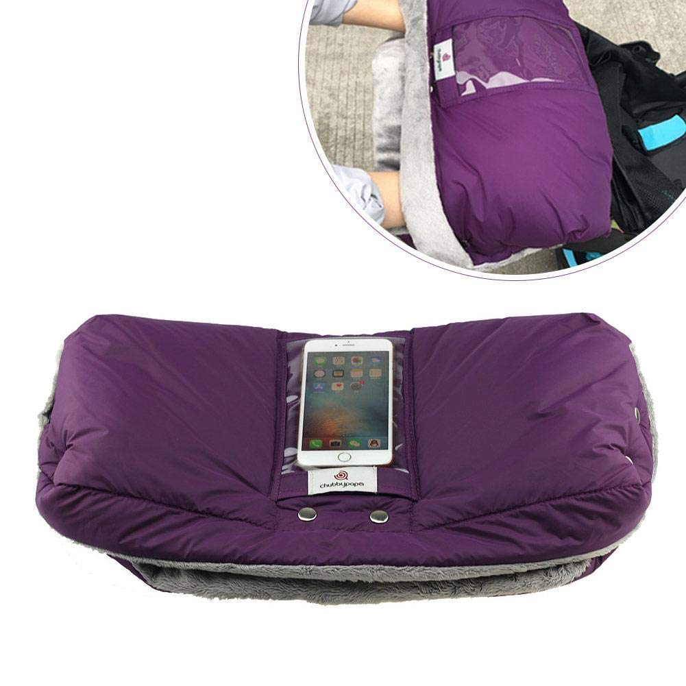 PER Thick Stroller Warm Plush Gloves Mitten With Mobile Phone Pocket Hand Muff Windproof & Waterproof for Winter-Purple