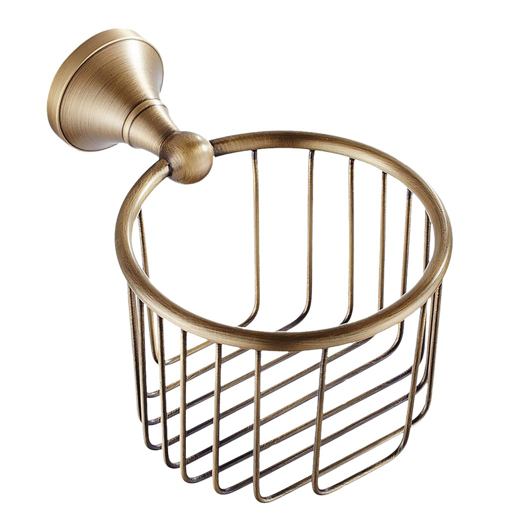 MonkeyJack Solid Brass Wall Mounted Bathroom Toilet Paper Roll Holder Towel Basket Bathroom Accessories Antique Bronze Finish