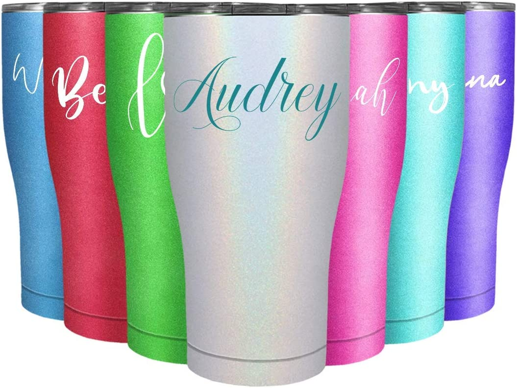 chevron aqua opal Personalized 20 oz skinny stainless tumbler with sliding tab closure lid and straw
