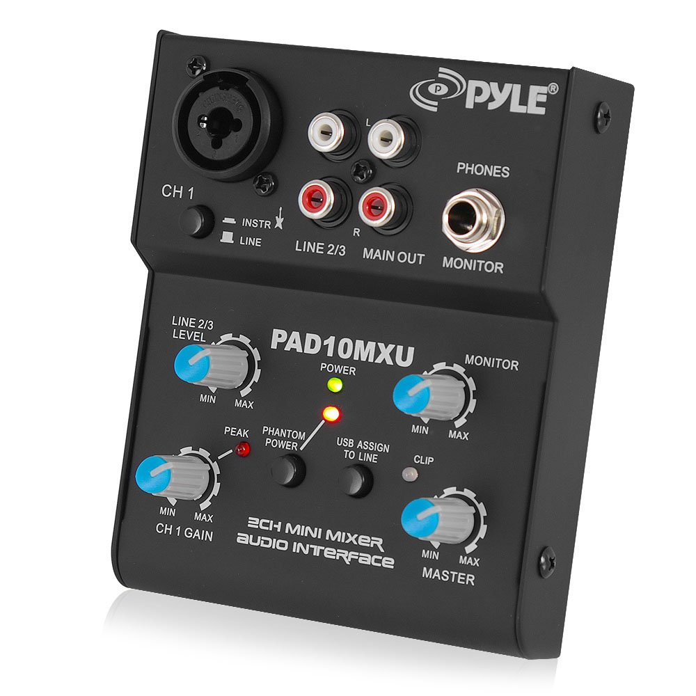 Pyle 2-Channel Audio Mixer - DJ Sound Controller Interface with USB Soundcard for PC Recording, XLR and 3.5mm Microphone Jack, 18V Power, RCA Input and Output for Professional and Beginners - PAD10MXU by Pyle