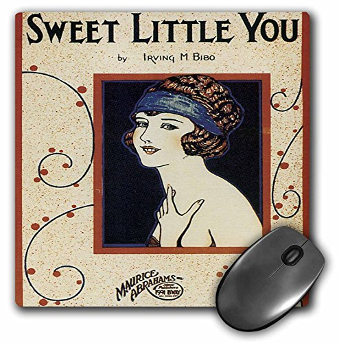 (3dRose BLN Vintage Song Sheet Covers Reproductions - Sweet Little You Woman in Flapper Style Dress - MousePad (mp_170480_1))