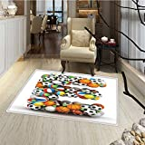Letter E Bath Mats for floors ABC of Sports Concept Different Gaming Balls First Name Initial Monogram Design Bath Mat 3D Digital Printing Mat 16''x24'' Multicolor