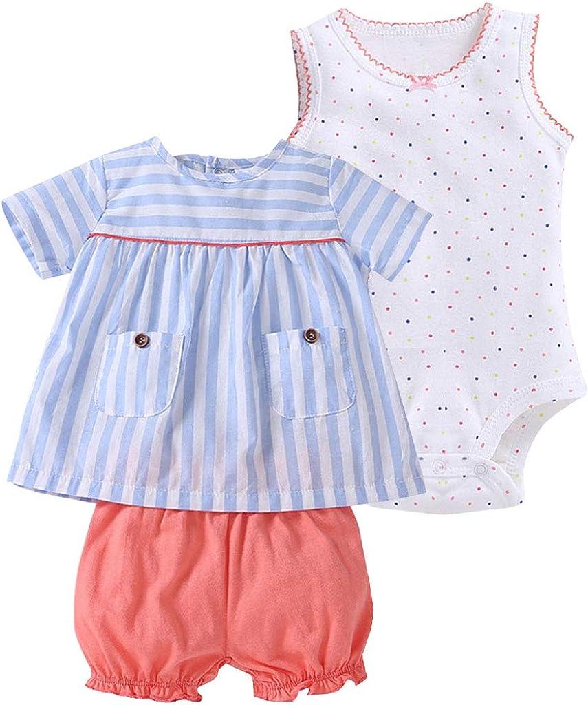 Baby M/ädchen 3 St/ück Bekleidungsset Shorts Body Set f/ür 3-24 Monate Kurzarm-Kleid