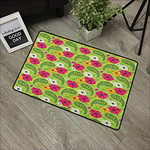 x L24 INCH Paisley,Floral Pattern with Vivid Paisley Print Old Vintage Boho Style Print, Pistachio Pink Orange Our bottom is non-slip and will not let the baby slip,Door Mat Carpe ()