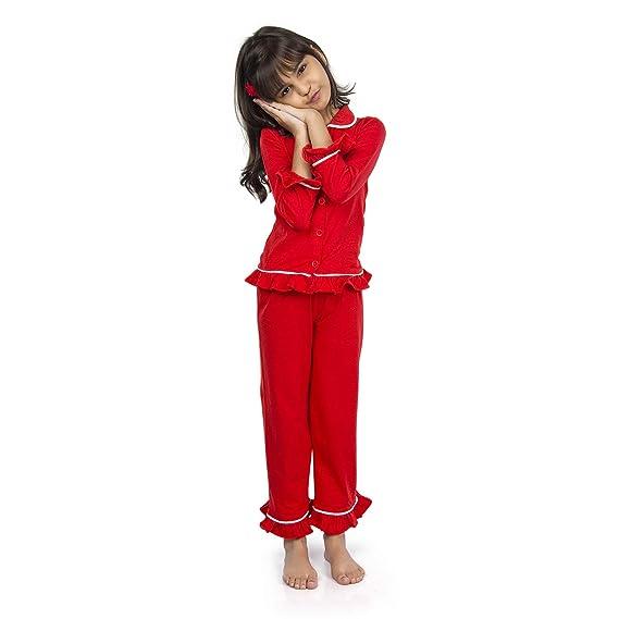 7ea679130fe olele® Girls Tomato Red Cotton Night Suit with Pajama Set