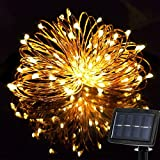 Solar String Lights 33ft,Waterproof Starry Fairy lights 100 Leds For Christmas New Year Seasonal Holiday Garden Yard Patio Balcony Decorations Warm White