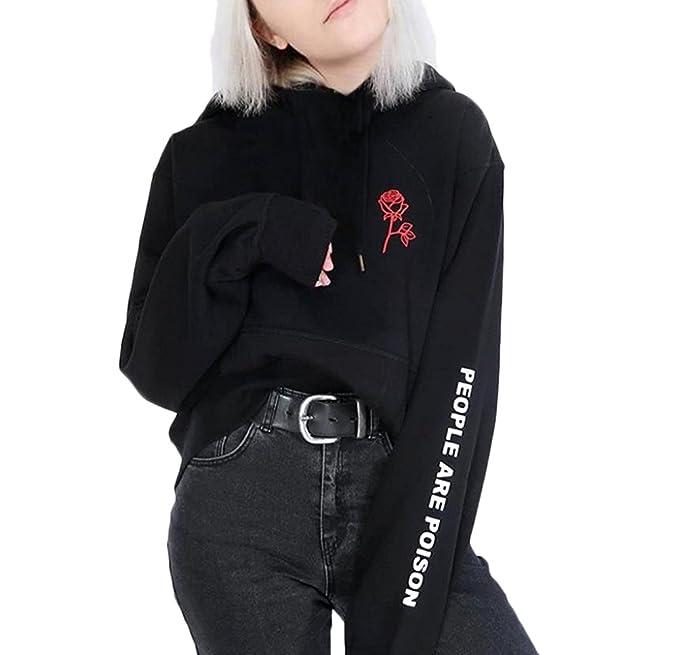 Sudaderas Mujer Con Capucha Negro Impresión Floral Carta Sweatshirt Encapuchado Suelto Elegantes Manga Larga Pull-