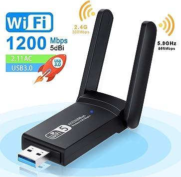 NEKAN Adaptador WiFi, USB 3.0 AC 1200Mbps Dongle 802.11 con Dual Band 5Ghz / 2.4Ghz, Antena de Alta Ganancia de 5dBi WiFi Receptor para PC Desktop Tablet, Compatible con Windows XP/7/8/8.1/10.: Amazon.es: Electrónica