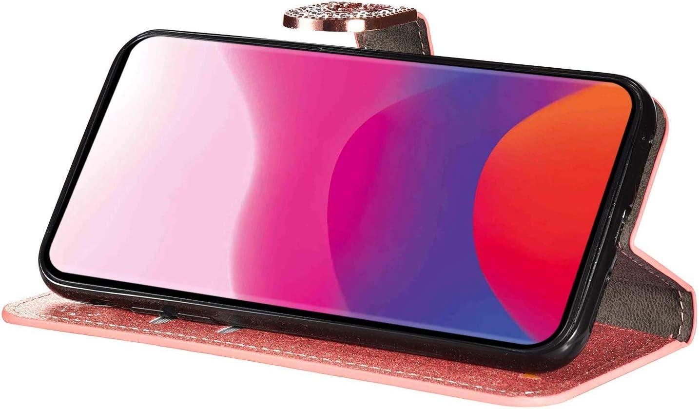 MoreChioce Coque Galaxy J5 2016 Clapet Case Amour Strass Flip Case Perle Diamant Housse de Protection Coque Rabat Antichoc Portefeuille Magn/étique compatible avec Samsung Galaxy J5 2016,Or Rose