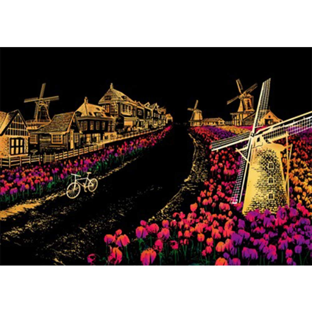 Dutch Windmill Studyset 10pcs Set Decorative Painting Scratch Scraping Painting Drawing Paper Pictures Home Decoration