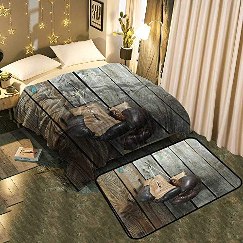 UNOSEKS-Home Indoor Modern Blanket mat Combination Brown Old Boxing Gloves with a lace Over Old Wooden Wall Modern Fashion Super Soft Blanket 50