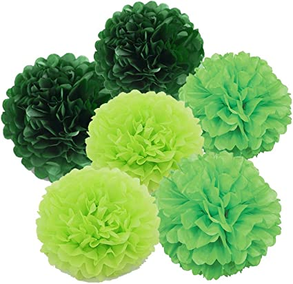 Amazon Com Daily Mall Art Craft Pom Poms Tissue Paper Flower 15pcs 8 Inch 10 Inch 12 Inch Decorative Hanging Flower Balls Diy Paper Craft For Wedding Birthday Party Home Decorations Green Set
