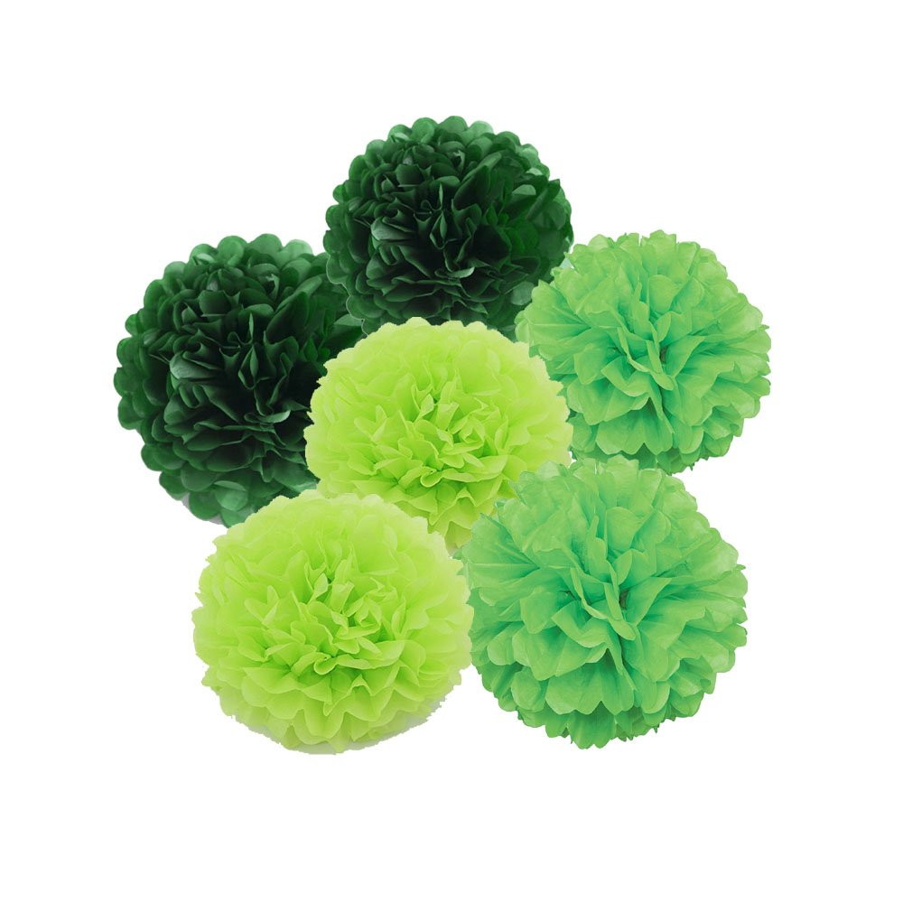 Daily Mall Art Craft Pom Poms Tissue Paper Flower 15pcs 8 inch 10 inch 12 inch Decorative Hanging Flower Balls DIY Paper Craft For Wedding Birthday Party Home Decorations (Green Set)