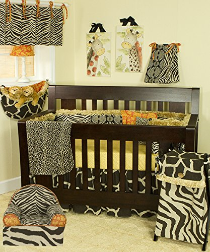 (Cotton Tale Designs 100% Cotton Animal Zoo Jungle Safari Floral Prints Patchwork Chocolate Brown, Cream, Tan Sumba 4 Piece Nursery Crib Bedding Set - Baby Shower Gift Gender Neutral Unisex)