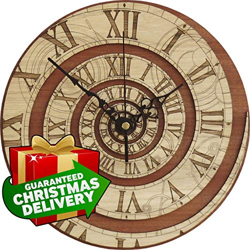 (Time Vortex Wooden Clock NT - Inspired by Doctor Who)