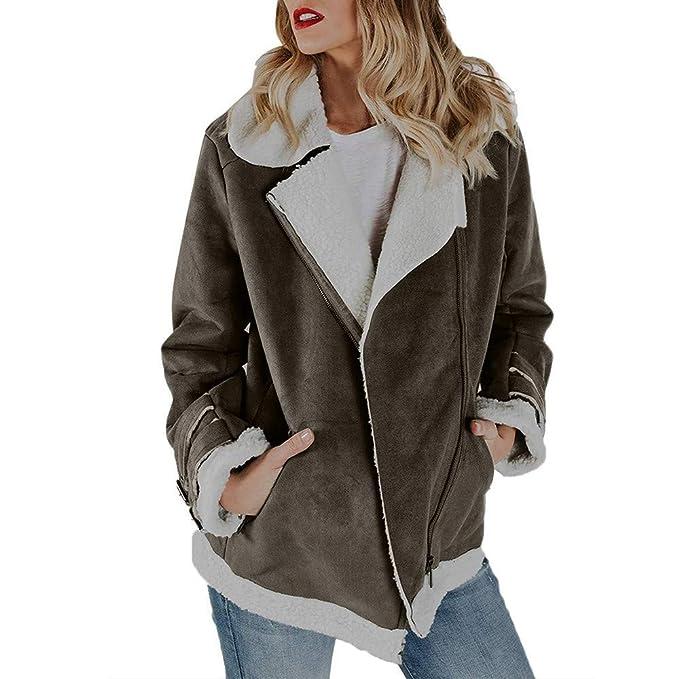 308420670ef3 Mantel Kolylong Damen Elegant Wildleder Revers Mantel Herbst Winter Warm  Zipper Wolljacke Dicker Fleecejacke Parka Outwear