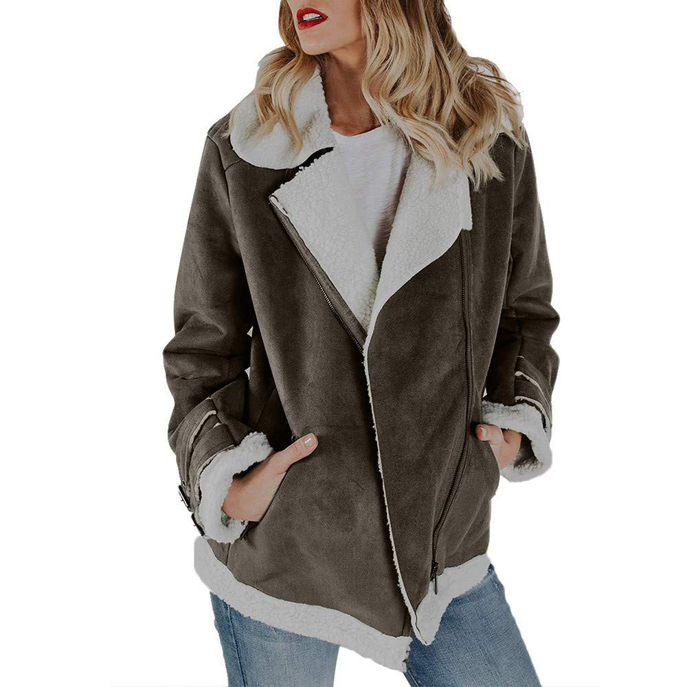 Women Faux Suede Zipper Up Warm Jacket, Ladies Winter Coat Vintage Outwear with Pockets Casual Overcoat Gray