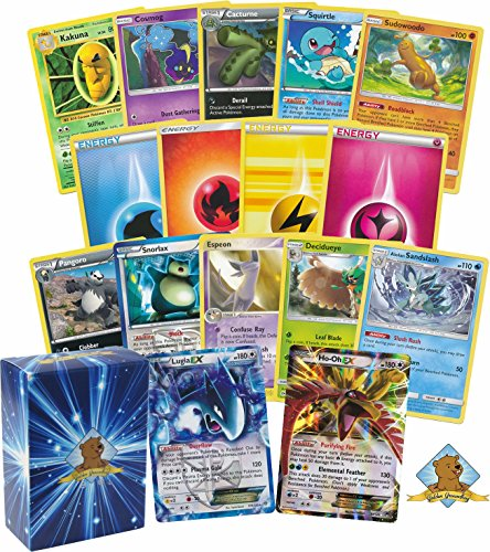 100 ASSORTED POKEMON WITH LEGENDARY HO-OH AND LUGIA EX IN EVERY BUNDLE! Includes Commons Energies Rares! Comes in Golden Groundhog Deck - Deck Assorted