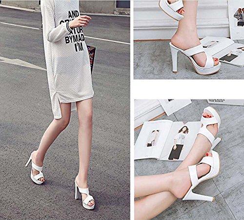 de Talla Peep Zapatillas 38 Blanco y Blanco Heel 39 Tamaño Wild Toe Mujeres Sandalias Shoes Plataforma High Rosa Sandalias Las de Color 34 Negro ETn0qwdqxC