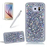 Glitter Cover for Samsung Galaxy S6,Girlyard Crystal Luxury Bling Shinning Design Soft TPU Ultra-thin Flexible Rubber Anti-slip Scratch Resistant Sleeve for Samsung Galaxy S6 -Silver