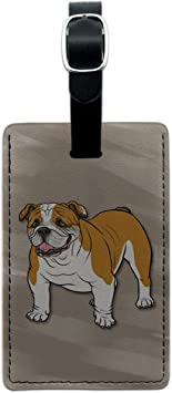 Cute Portrait Of Bulldog Dogs Luggage Tag Label Travel Bag Label With Privacy Cover Luggage Tag Leather Personalized Suitcase Tag Travel Accessories