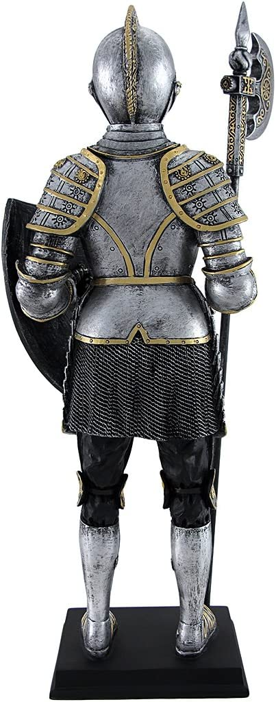 Medieval Armor Knight With Poleaxe and Shield Statue