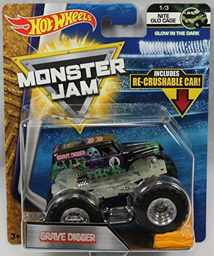 Hot Wheels Monster Jam 2018 Nite Glo Cage Grave Digger (Includes Re-Crushable Car) 1:64 Scale]()
