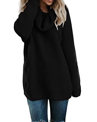 a34c6b5515 Pxmoda Women s Casual Long Sleeve Turtleneck Knit Sweater Chunky Oversized  Pullover Jumper (S