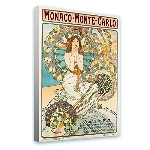 Alonline Art - Monaco Monte Carlo by Alphonse Mucha | framed stretched canvas on a ready to hang frame - 100% cotton - gallery wrapped | 24