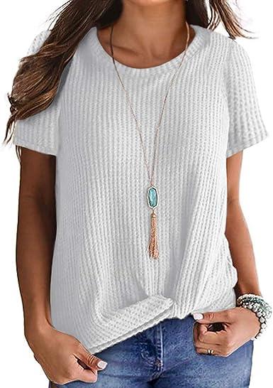 NPSJYQ Camiseta De Manga Corta para Mujer Color SóLido Moda Cuello Redondo Tops Elegante Blusa Diaria CláSica Blusa Anudada Elegante T-Shirt Verano