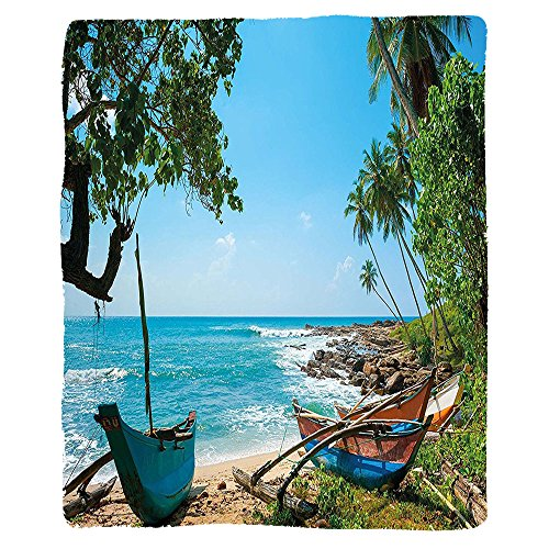 VROSELV Custom Blanket Beach Tropical Ocean Scenery with Palm Trees and Fishing Boats Caribbean Landscape Soft Fleece Throw Blanket Green Blue