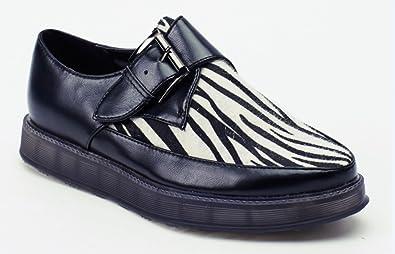9f203fc0c1c Martin Pescatore Zebra Print Contrast Buckle Chaussure pour Femme Noir (UK  5 Euro 38)