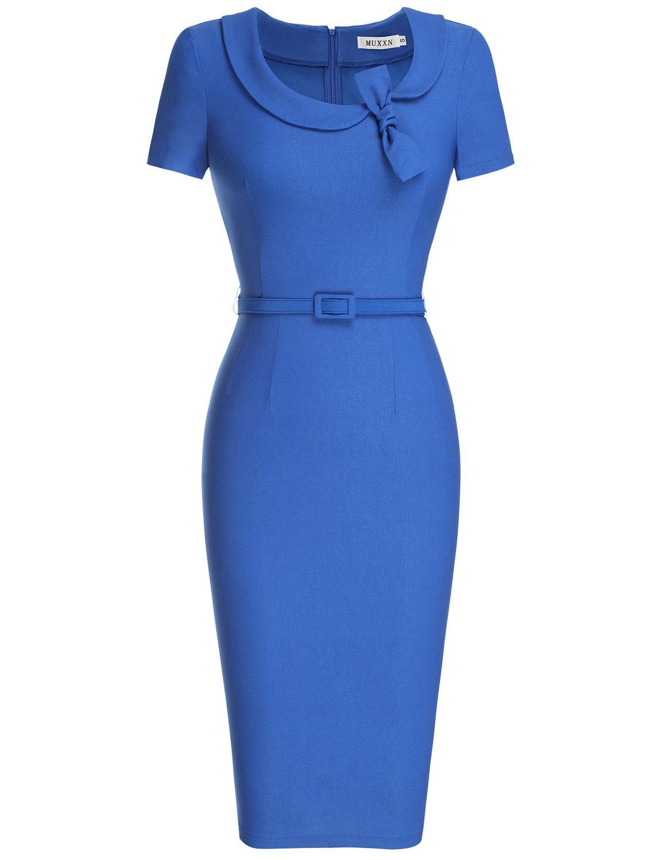 MUXXN Women's Elegant Sweetheart Neckline Back Zip Pure Cocktail Dress (L Color Blue)