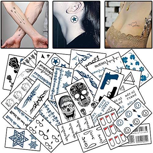 WOKOTO 30 Sheets Different Style Temporary Tattoos Rose Arrow Skull Waterproof Tattoo Body Art Stickers Fake Tattoo For Men Women ()
