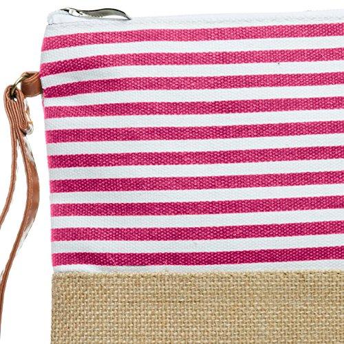 righe Caspar Fuchsia Handbag a Juta manoPochette Handbag Ts355 a Summer b6vYgf7ymI