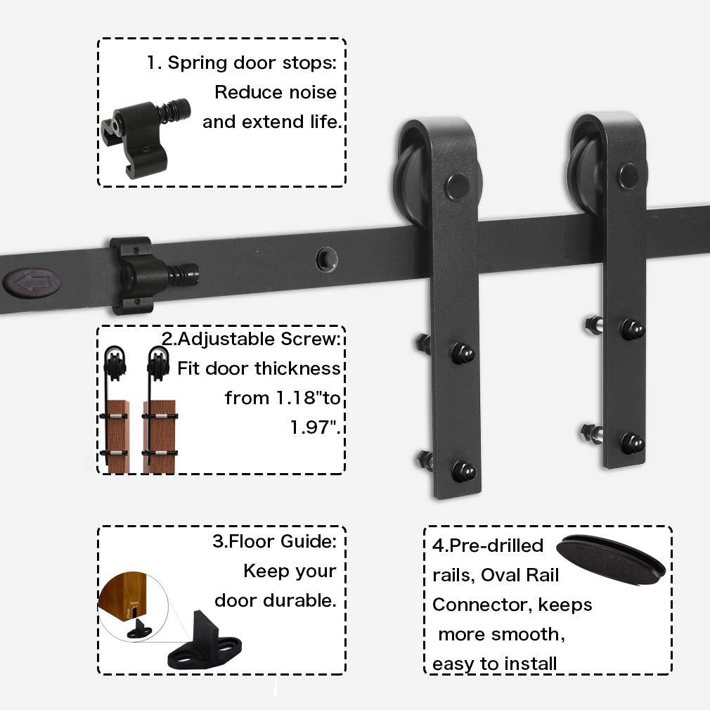 CCJH 5FT//152cm Sliding Barn Door Hardware Closet Set for Single Wooden Door Modern Black Sliding Door Kits,Upgrade