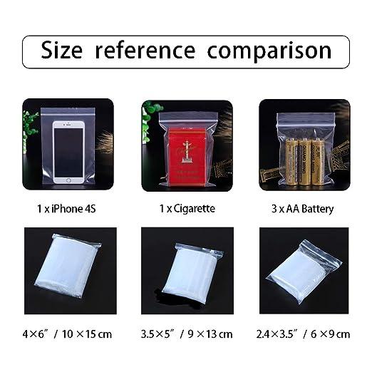 Amazon.com: Bolsas de polietileno con cremallera, 3 tamaños ...