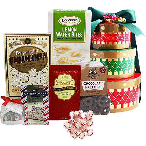 Holiday Drums Gourmet Christmas Snacks Gift Tower (Cheer Gift Basket Ideas)