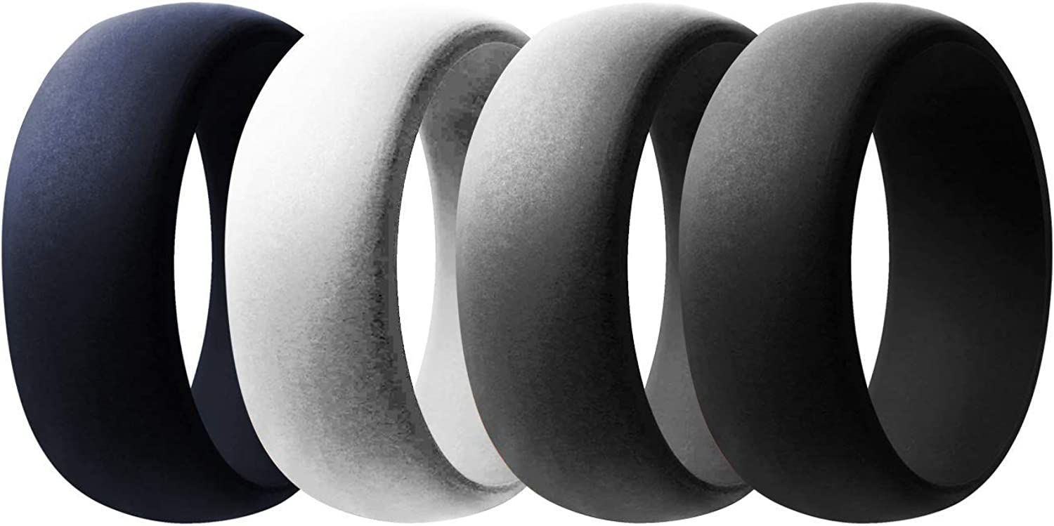 Dark Grey and Light Grey 3 Packs Classic Silicone Rings Pymbm Silicone Wedding Ring for Men Or Women Rubber Engagement Bands Black Size 8 9 10 11 12 13