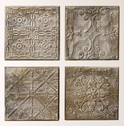 (Creative Co-Op Square Embossed Tin Wall Tiles (Set of 4 Designs))