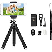 Phone Tripod, Sellemer Flexible and Adjustable Tripod Bluetooth Camera Remote for iPhone X 8 7 Plus 6S 6 5s 5 SE, Galaxy S8 S7 S6 Edge and Gopro Hero/Akaso EK7000 Action Camera (Tripod)