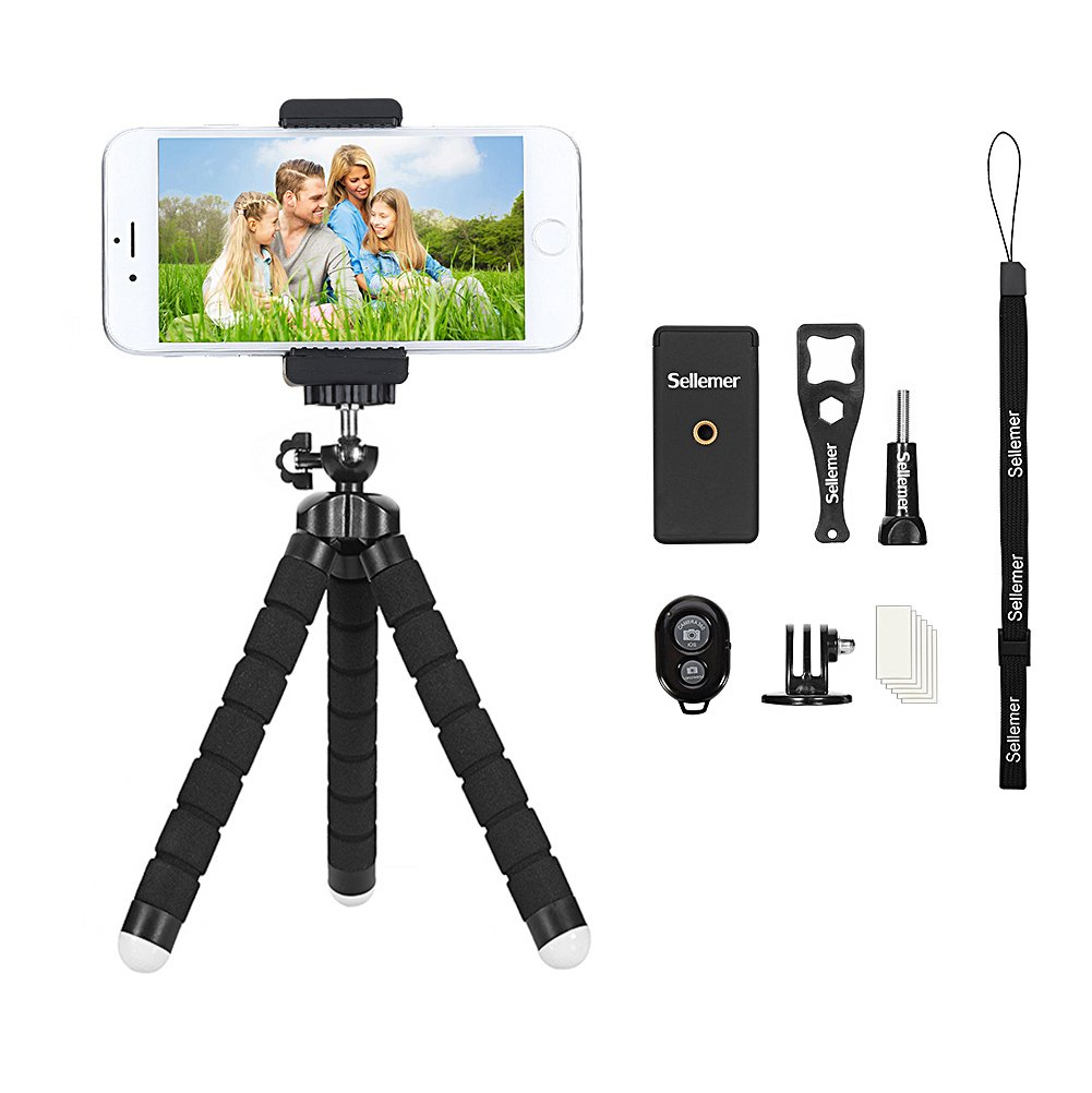 Phone Tripod, Sellemer Flexible and Adjustable Tripod Bluetooth Camera Remote for iPhone X 8 7 Plus 6S 6 5s 5 SE, Galaxy S8 S7 S6 Edge and Gopro Hero/ Akaso EK7000 Action Camera (tripod) by Sellemer