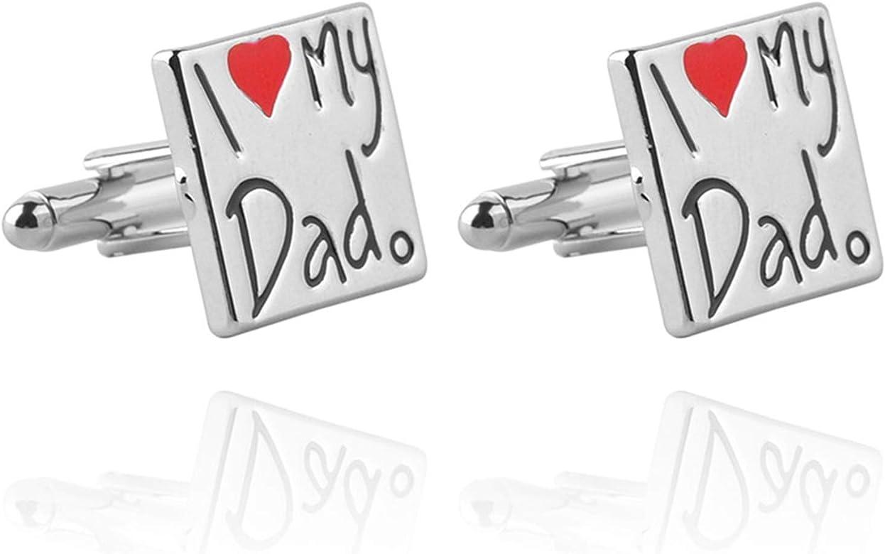 AYDOME Gemelos de Novio Gemelos de Hombregemelos Hombre Gemelos Camisa Letras I Love My DadCon Corazón Gemelo de Hombre Plata: Amazon.es: Joyería