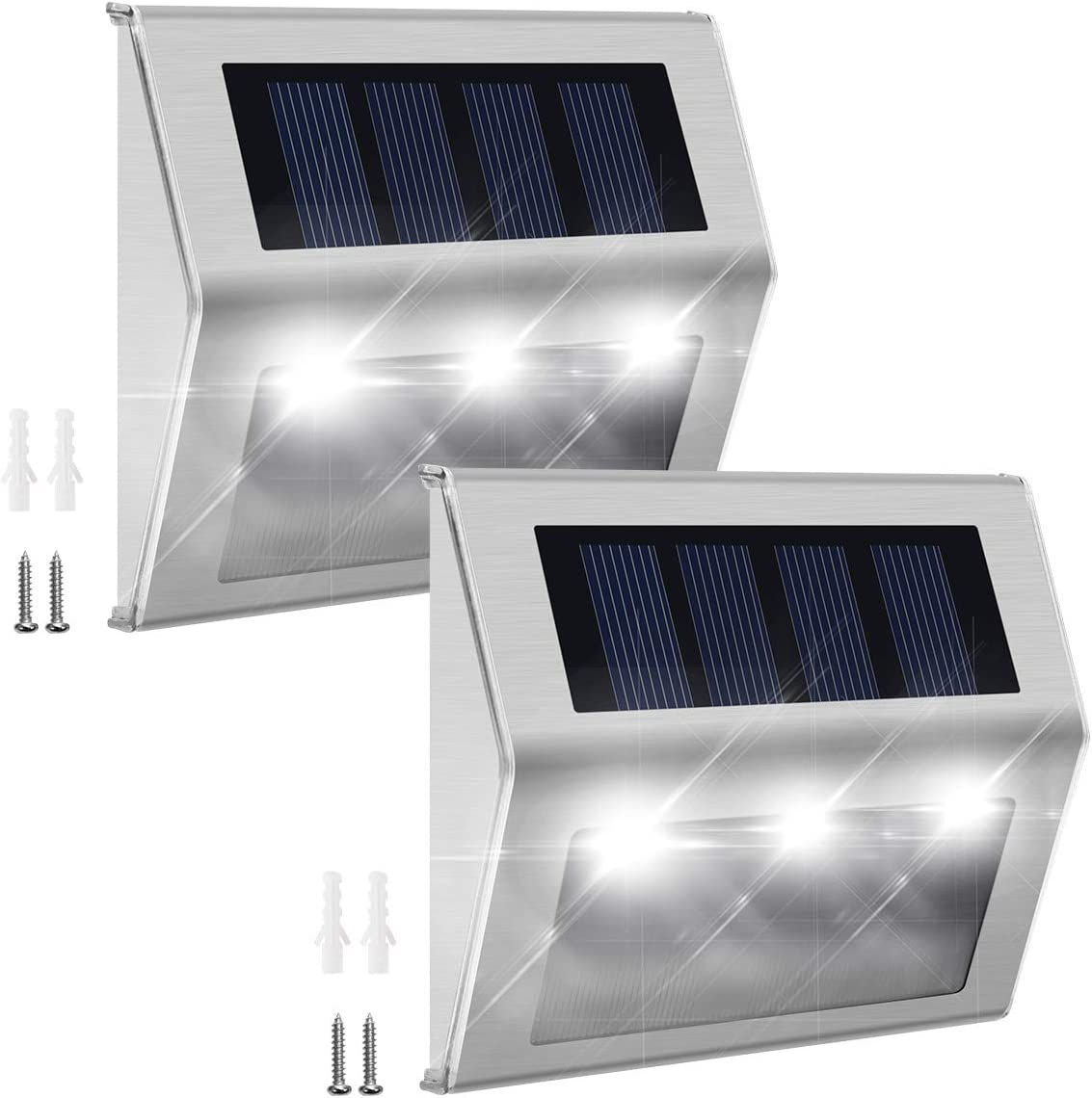 Solar Step Lights with Larger Battery Capacity JACKYLED 2-Pack Stainless Steel Bright 3 LED Solar Powered Deck Lights Weatherproof Outdoor Lighting for Steps Stairs Decks Fences Paths Patio Pathway