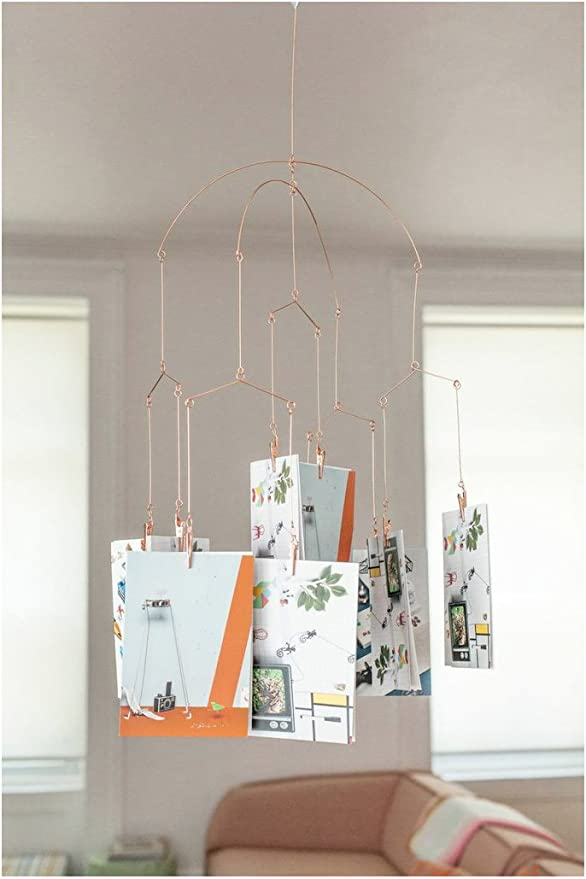 Modern Hanging Mobile Kikkerland Copper Photo Clips New in Box Metal Gift