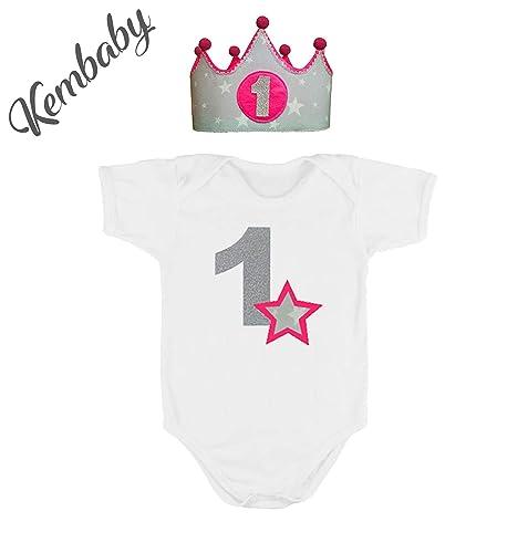 Corona + Body/Camiseta primer cumpleaños 1 año para niñas ...