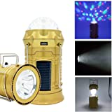 RebirthTree USB Solar Camping Lantern Party Light, Outdoor Rechargeable Portable Collapsible Flashlight Light Colorful LED Light for Fishing Hiking Hurricanes Birthday Party Wedding